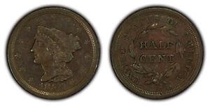1851 1/2c Braided Hair Half Cent - Original AU+ Coin - SKU-X1538
