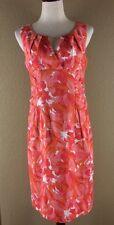 Adrianna Papell Dress Size 12 Pink White Orange Floral Cotton Spandex