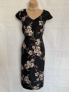 JACQUES VERT 14 Black Mix Floral Shift Style Dull Satin Occasion Dress Vgc