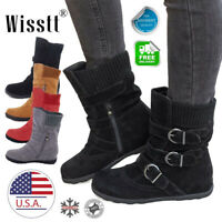 Women's Winter Warm Suede Fur Lined Mid-calf Snow Flat Short Boots Shoes Size 7