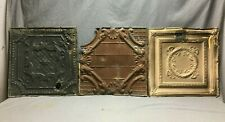 """Lot of 3 Antique Tin Metal Ceiling 24""""x24"""" Crafts Art Projects Vtg 273-20B"""