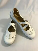 Womens Hotter LULU Leather White  Sz 11 Mary Janes Comfort Flats Shoes England