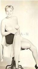 Original 40s-50s Vintage Nude Pinup RP- Blond- Well Endowed- Legs- Chair- Heels