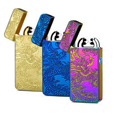 Electric USB Rechargeable Double ARC Flameless Windproof  Plasma Lighter Dragon