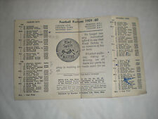 The 1959-60 Fixture Card For Cardiff City /Swansea Town & 4 Rugby Teams-Maesteg+