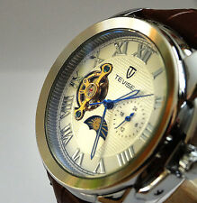 Classic 44mm tourbillon automatico complicazione GMT ACCIAIO LUCIDO DRESS WATCH