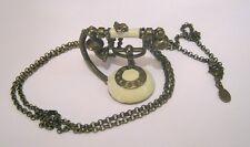 Precioso Collar Cadena de Metal Tono Bronce Colgante de teléfono vintage 80 cm de largo