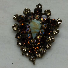 "Vintage Rhinestones Brooch Pin 1 5/8"" Colorful Prong Set"