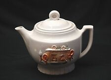 Old Vintage 1930's Porcelier Teapot Tea Pot Hearth Home Scene Usa Vitreous China