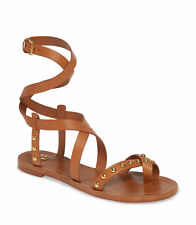 Tory Burch Women's Ravello Tan Leather Studded Ankle Wrap Sandals Shoes