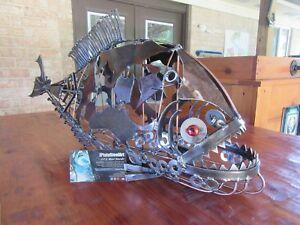 Metal Piranha Sculpture-Welded Art-Scrap Metal-Steel Art-Fish Sculpture-Welding