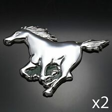2x CHROME 3D Car Badge Mustang Horse Power Emblem Sticker Decal Silver Sign Ford