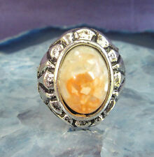 Ring Vintage Style Tibet Silver oval Shell Mother Of Pearl orange white in Resin