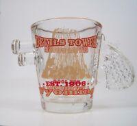 Shot Glass Gun Shooter Pistol Devils Tower Gold Rim Red Wyoming Souvenir