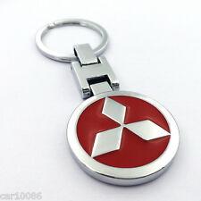 Metal Car double side Logo keyring key chain pendant Key Holder For Mitsubishi