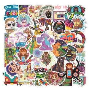 MUSIC STICKERS 50 HIPPY PSYCHEDELIC PEACE VW CAMPER EQUALITY HIPPIE LARGE