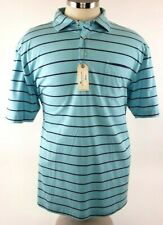 Peter Millar Seaside Wash Mens Blue Striped Short Sleeve Polo Shirt Size XL