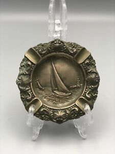 Jennings Brothers Antique Bronze Sailboat Ashtray-Signed J.B. Foundry CT
