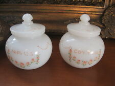 Antique 2 vase milk glass opalescent nipples & cotton balls for baby 1940's