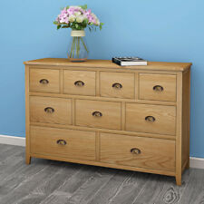 Large Oak Chest Of Drawers 9 Drawers Chest Sideboard Cupboard Bedroom Furniture