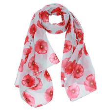 Quality Beach Wrap Fashion Flower Printed Scarf Long Stole Shawl Red Poppy