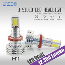 120 Watts 12400LM CREE LED H11 Fog Light Kit Bulbs Xenon White 6000K High Power