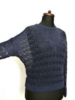 MASSIMO DUTTI Blue Lace Knit Light Summer Boxy Jumper Sweater  M 10 12 14