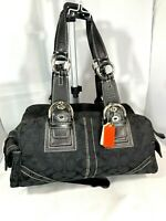 Coach Signature C Jacquard Black Leather Trim CO6Q-10078 Boston Bag