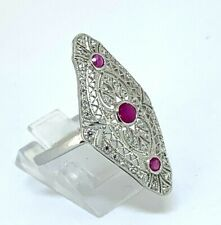 Ring Rubin & Zirkonia  925er Silber   Art Deco Style   # 61
