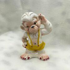 Vintage White Ceramic Pants Monkey Chimp Figurine Salt or pepper