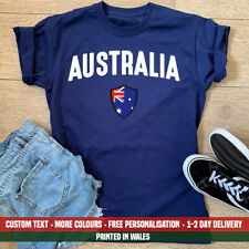 Ladies Australia Varsity Flag T Shirt Womens Holiday Emigrate Birthday Gift Top