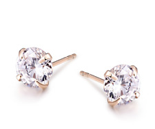 18K Yellow Gold GB 1.25 ct Solitaire Simulated Diamond Claw Stud Earrings E127