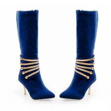 Womens High Heel Stilettos Pointy Toe Riding Decro Knee High Boots Shoes Plus Sz