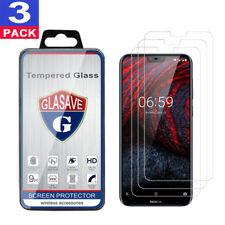 (3 Pack) GLASAVE Nokia 6.1 Plus,X6 2018 Tempered Glass Screen Protector