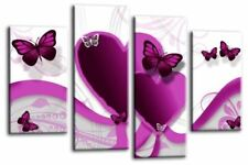 Butterfly Heart Wall Art Grey Purple White Childs Bedroom Canvas Split Picture