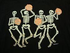 Vintage Halloween Skeletons and Jack-O-Lanterns Cartoon Funny Black T Shirt M