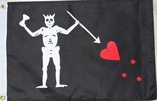 "Pirate Flag 12""X18"" Blackbeard Edward Teach Double Sided Nylon Boat/Motorcycle"