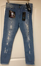 Cover girl cute mid high rise waisted ripped torn skinny Fray Hem  jeans 15/16