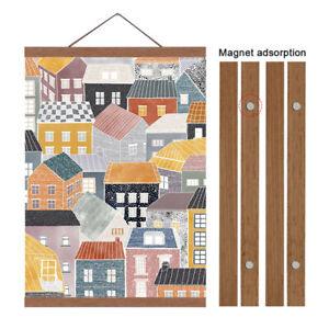 21~60 cm Magnetic Poster Frame Teak Wooden Hanging Scroll Wall Art Poster Hanger