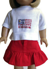 """Shirt with Flag & Red Ruffled Skirt made for 18"""" American Girl Doll Clothes"""