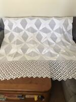 Vintage Hand Crocheted Queen Bedspread King Coverlet White Beautiful 80x75