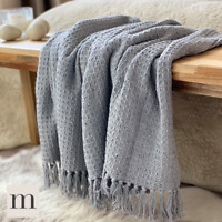 Luxury 100% Cotton Silver Light Grey Waffle Check Large Blanket Throw Bed Sofa