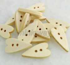 100 Pcs Nature 2 Holes Heart Shape Wood Buttons For Sewing/Scrapbook mnk403