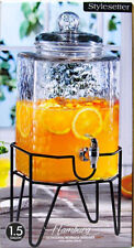 New listing 1.5 Gallon Beverage Dispenser and Stand Cold Drink Juice Tea Water Glass Jar