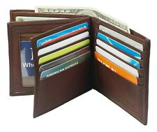 Genuine Leather Mens Bifold 2 ID's multi Card Double Flap Wallet Brown AH99-BR