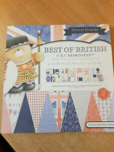DOCRAFTS BEST OF BRITISH DESIGNER 48PIECE PAD ,BACKING PAPERS,TOPPERS,TAGS