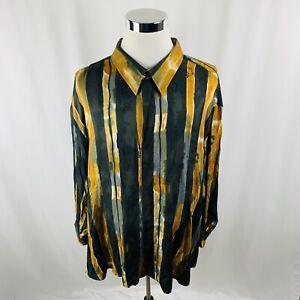 Vintage Genelli Gold Black Striped Silk Shirt Men's 5XL Rare