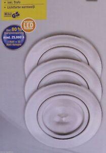 3x LED Einbauleuchten-Set 3x 1W Aluminium ca. 48mm inkl. Trafo warmweiß Neu&OVP
