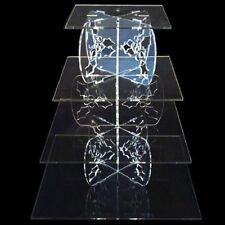 quattro Tier AGRIFOGLIO design quadrato BASE TORTA - TRASPARENTE
