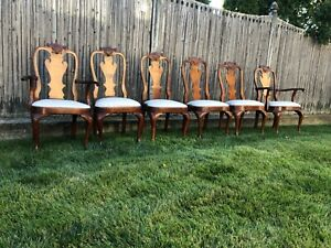Set Of 6 STICKLEY Mahogany Philadelphia Queen Anne Dining Room Chairs
